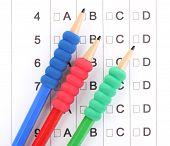A, B, C, D test close-up