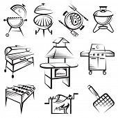 monochrome set of barbecue and grill icons