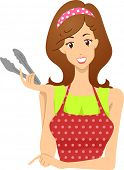 Header Illustration Featuring a Woman Holding a Pair of Tongs