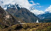 Buddhist Stupe Or Chorten And Lhotse Peaks In Himalayas
