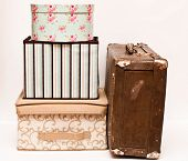 Old  Suitcase With Boxes