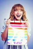 Bargain Shopping Woman Laughing With Joy