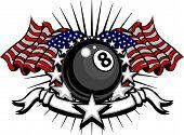Billar Eightball Vector plantilla con banderas y estrellas