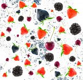 Blackberry, cherry  and strawberry. Isolation on white