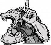 Lobo mascota cuerpo Vector Cartoon