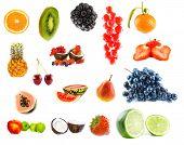 Assortment of fruit. Isolation on white