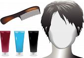 Hair Salon Woman Face Mannequin Tortoise Shell Comb Care Products.Eps