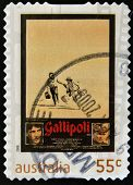 A stamp printed in Australia shows frame from film Gallipoli