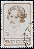 BELGIUM - CIRCA 1985: A stamp printed in Belgium shows Koningin Astrid circa 1985