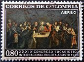 COLOMBIA - CIRCA 1968: A stamp printed in Colombia shows table with the Last Supper of Jesus