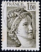 stamp printed by France shows The Sabine Women (detail) by Jacques-Louis David