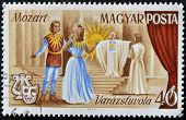 stamp printed in Hungary shows Scene from Magic Flute opera by Wolfgang Amadeus Mozart