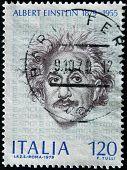 A stamp printed in Italy shows Albert Einstein