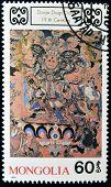 MONGOLIA - CIRCA 1990: A stamp printed in Mongolia shows Dorje Dags Dan Buddhist deity circa 1990
