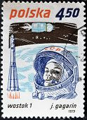 A stamp printed in Poland shows first-ever cosmonaut Jury Gagarin