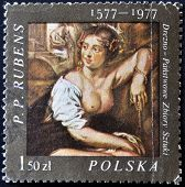 A stamp printed in the bulgaria shows fragment of draw of artist Peter Paul Rubens