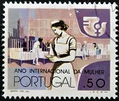 A stamp printed in Portugal dedicated to international year of women shows a nurse