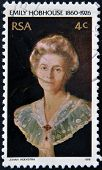 A stamp printed in RSA shows Emily Hobhouse