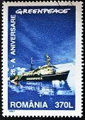 Un sello imprimido por Rumania dedicada a Greenpeace