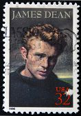 A stamp printed in USA shows James Dean