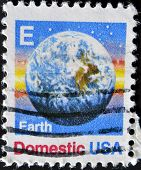 USA - CIRCA 1988: A stamps printed in USA showing the earth circa 1988