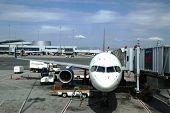 Delta aircraft at the gate at San Francisco airport