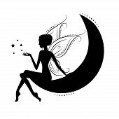 stock photo of moon stars  - Beautiful fairy silhouette - JPG