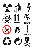 stock photo of biohazard symbol  - Useful Warning Symbols vectorial poster image isolated - JPG