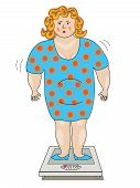 Fat Woman In A Dress Standing On The Scales.