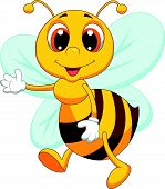foto of sting  - Vector illustration of Cute bee cartoon waving - JPG