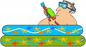 pic of kiddy  - This illustration depicts a man laying in a kiddie pool and holding a squirt gun - JPG
