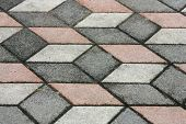 The Fragment Of A Pavement Footpath Paving Stone With Color