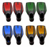 Set Of Multicolored Swim Fins