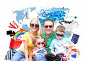 picture of family planning  - A young family is happy and wearing sunglasses on an isolated white background with various vacation beach and travel icons - JPG