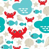 stock photo of oyster shell  - Seamless fish and lobster crab ocean seashell background pattern in vector - JPG