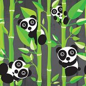 Seamless decorative panda bamboo illustration background pattern in vector