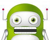 Cartoon Character Cute Robot. Angry Avatar. Vector EPS 10.