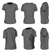 All views men's black short sleeve t-shirt design templates (front, back, half-turned and side views). Vector illustration. No mesh.