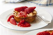 Baked ricotta with strawberries.  Delicious, healthy dessert.
