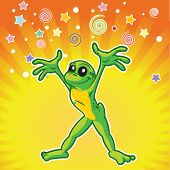 Cartoon frog yelling surprise.