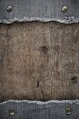 foto of indigo  - blue jean on wood texture background - JPG