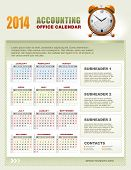 2014 accounting corporate office calendar template grid with week numbers, vector