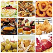 a collage of nine pictures of different spanish tapas, such as calamares a la romana (squid rings),