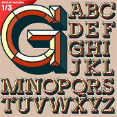 Vector illustration of old school beveled alphabet. Outlined version. Upper case