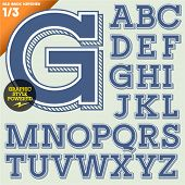 Vector illustration of an old fashioned alphabet. Vintage style. Background hatched