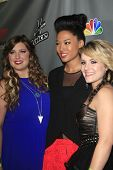 WEST HOLLYWOOD, CA - MAY 8:  Sarah Simmons, Judith Hill, Amber Carrington at the NBC's 'The Voice' S