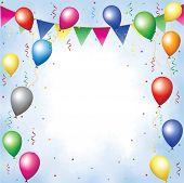 Постер, плакат: Бантинг воздушные шары серпантин и конфетти