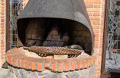 Retro Hearth Fireplace Brick Wall Outdoor Closeup
