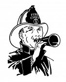 Fireman With Bullhorn - Retro Clip Art Illustration