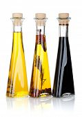 stock photo of vinegar  - Olive oil and vinegar bottles - JPG